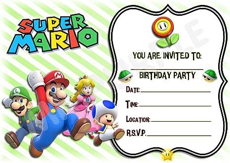 Invitaciones para fiesta de cumpleaños de Super Mario, diseño de rayas horizontales – Suministros para fiesta / accesorios (paquete de 12 invitaciones tamaño A5) WITH Envelopes: Amazon.es: Electrónica