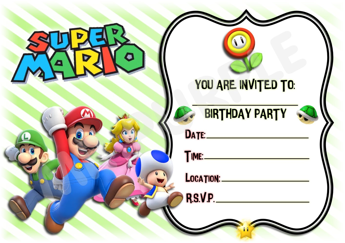Super Mario Cast Birthday Party Invites - Landscape Striped Design ...