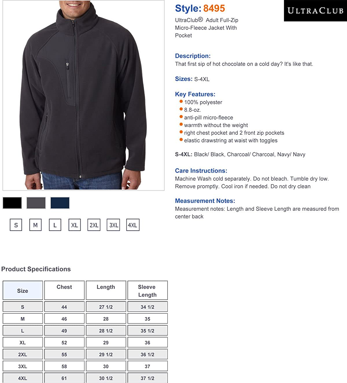UltraClub/Â Adult Full-Zip Micro-Fleece Jacket With Pocket 8495