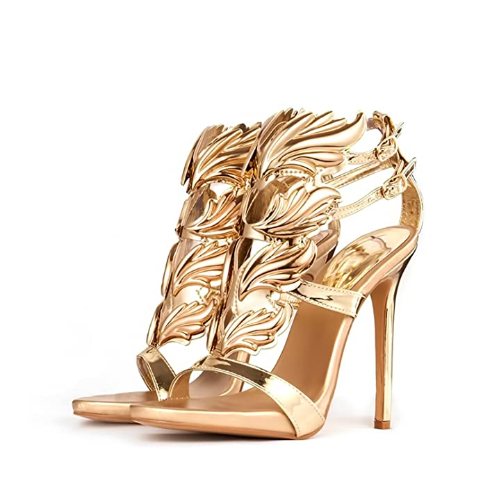 f4e58b411e Amazon.com | Jeff Tribble Women High Heel Sandals Gold Leaf Flame Shoes  Party Dress Patent Leather High Heels | Heeled Sandals