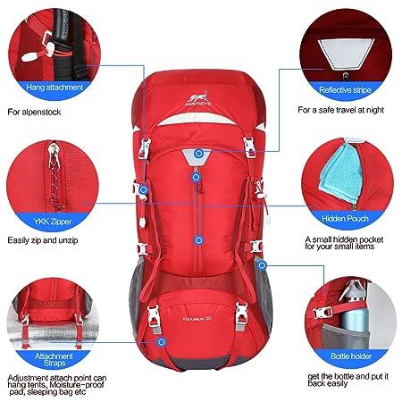 Eshow 50L Mochilas de Acampada Multifuncional Mochilas de Senderismo de Nailon Impermeable Mochilas de Montaña para Viajes de Unisex Color Rojo: Amazon.es: ...
