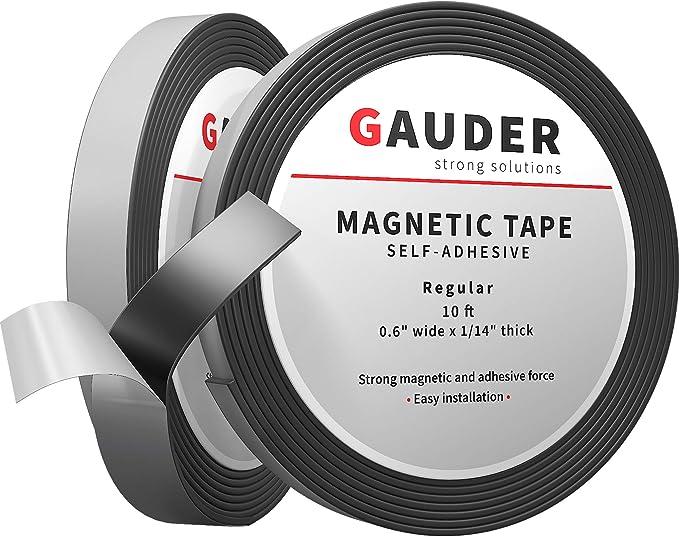 GAUDER Cinta Magnética Adhesiva | Banda Magnética Autoadhesiva | Tira de Imán Flexible