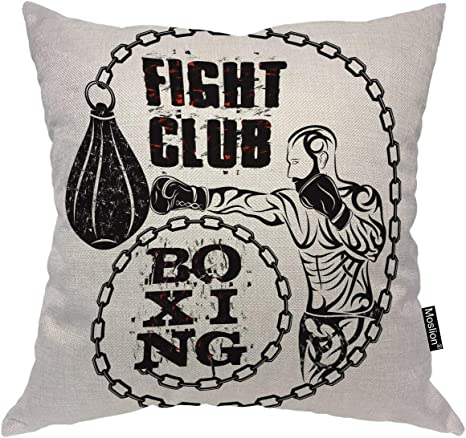 Amazon Com Moslion Sport Pillows Man Hitting Punching Bag Boxing Fight Club Word Throw Pillow Cover Decorative Pillow Case Square Cushion Accent Cotton Linen Home 18x18 Inch Black White Home Kitchen