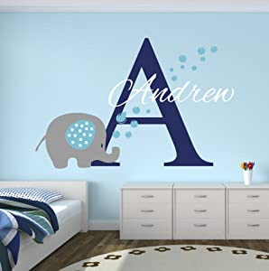 Custom Elephant Name Wall Decal - Baby Elephant Room Decor - Nursery Wall Decals - Elephant Bubbles Wall Decal Vinyl Sticker