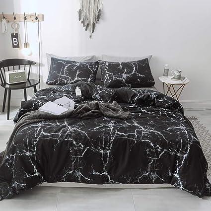 Amazon.com: 3PCs Black Marble Duvet Cover Set, 100% Cotton ...