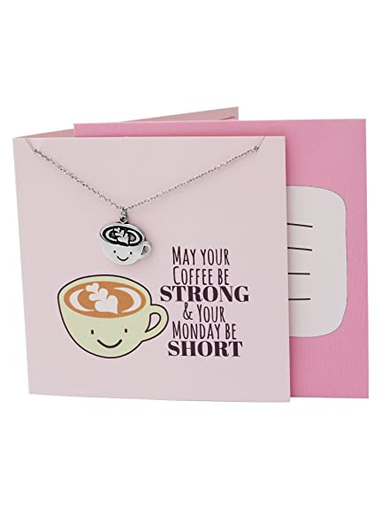 Quan Jewelry Caffeine Necklace Coffee Mug Pendant Monday Motivation Gift Gifts For