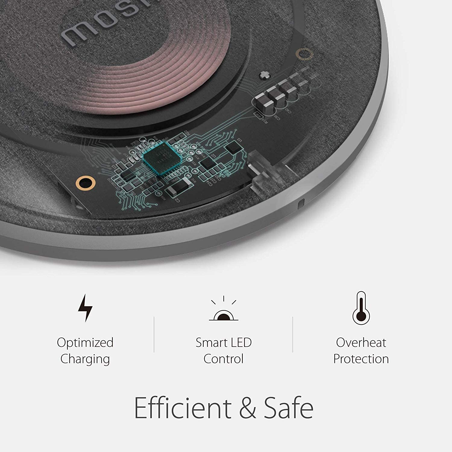 Fast-Charging Up to 10W Compatible with AirPods//AirPods Pro Moshi Otto Q Wireless Charger Qi Certified iPhone SE 2//11//11 Pro//Pro Max//XR//XS Max//XS//X//8//8+ No AC Adapter Galaxy S10//S9//S8//Note 10//9//8