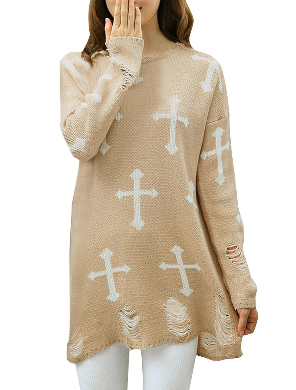 Allegra K Women Vintage Distressed Cross Printed Loose Tunic Soft Sweaters