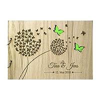 Livingstyle & Wanddesign Rustikales Gästebuch aus Holz zur Hochzeit mit Namen und Datum, Schmetterlinge grün (Motiv 11, 48 Seiten/24 Blatt)
