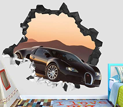 Amazon Com Car Bugatti Veyron Super Sport Wall Decal Smashed 3d