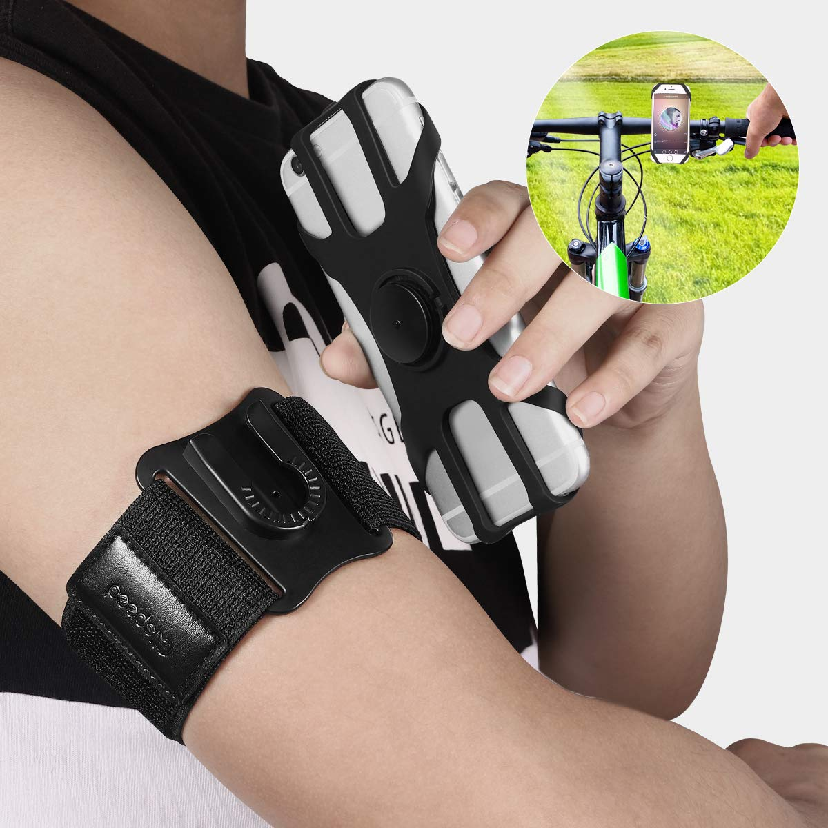 CLISPEED Running Armband Wristband 360° Rotation Bike Phone Mount, 3-IN-1 Phone Holder Set by CLISPEED