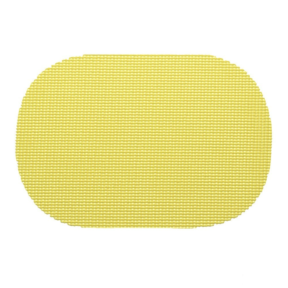 12 Piece Lemon Placemats,(Set of 12), Machine Washable, Solid Pattern, Oval Shape, Contemporary And Traditional Style, Perfect For Everyday Entertaining, Season Or Holiday Lace Material, Dark Yellow