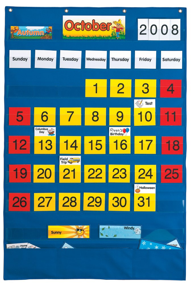 Classroom Calendar Days Of The Year : Classroom calendar english spanish pocket chart