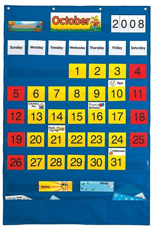Amazon com playmonster lauri calendar pocket chart english spanish