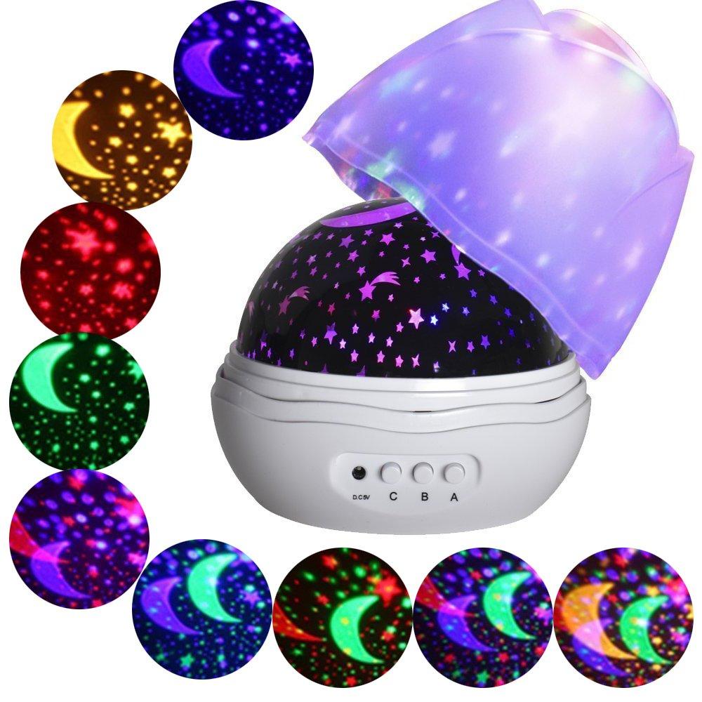 MINGKIDS Lámpara LED giratoria grados Luz romántica de habitaciones Cosmos proyector de