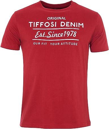 Josue Camiseta Manga Corta, Cuello Redondo Print Delantero (XL, Roja): Amazon.es: Ropa y accesorios