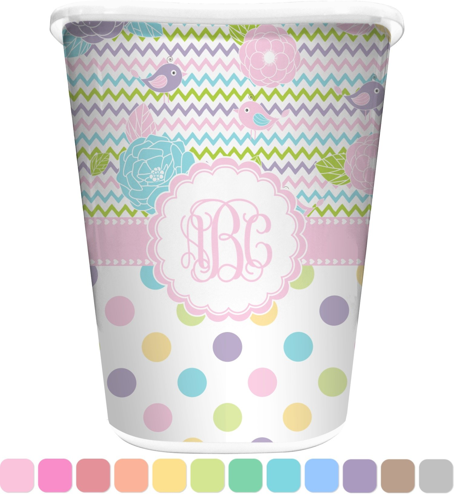 RNK Shops Girly Girl Waste Basket - Double Sided (White) (Personalized)