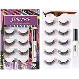 JIMIRE False Eyelashes Kit, Natural Lashes with Glue and Tweezers Round Strip False Lashes Kit 5 Pairs