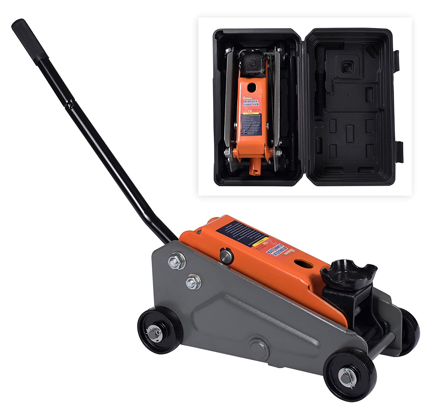 BAISHITE Hydraulic 2 Tons Capacity Floor Jack with Portable Blow Mold Case