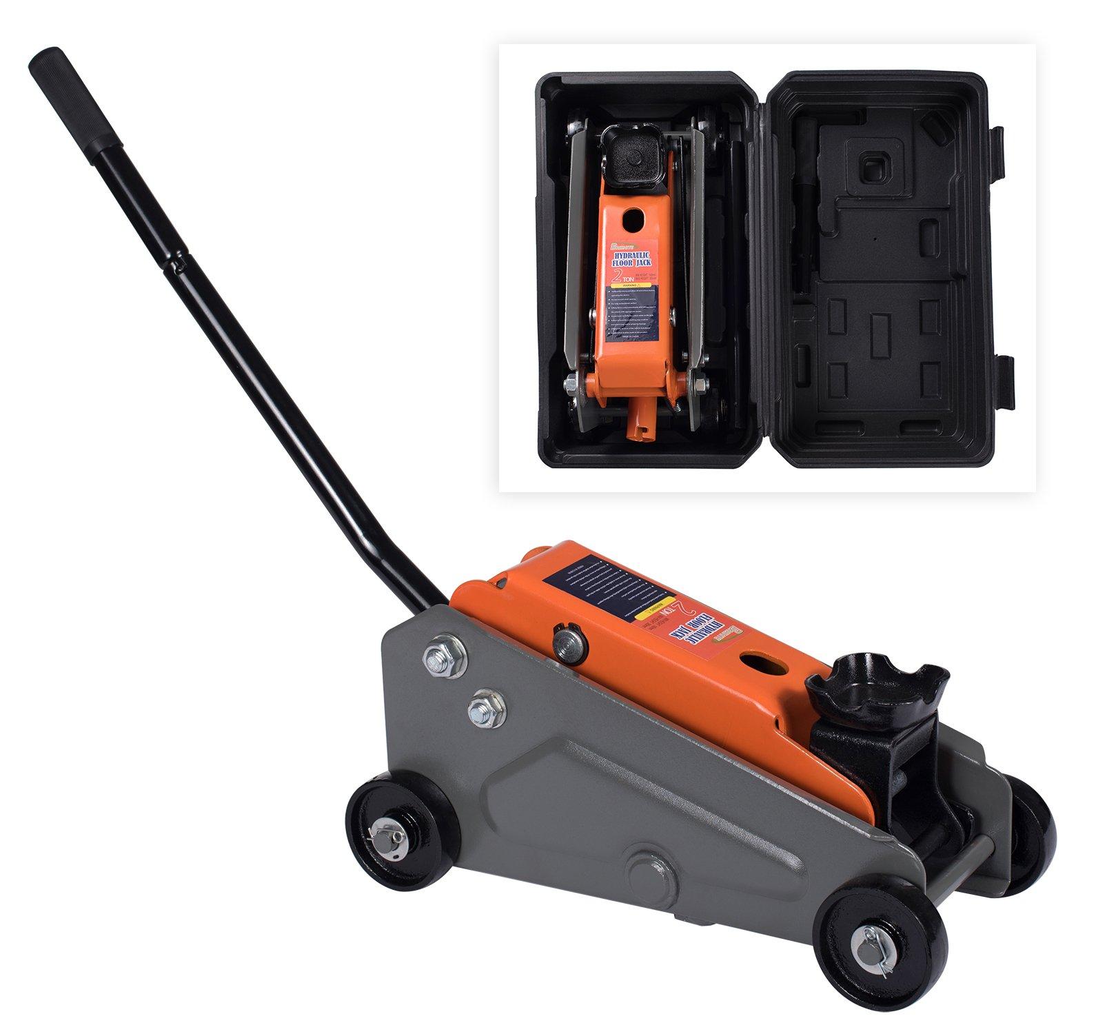 BAISHITE Hydraulic 2 Tons Capacity Floor Jack with Portable Blow Mold Case