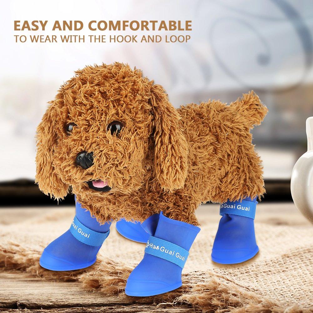 4er Hund Pfotenschutz Wasserdicht Regen Schuhe Silikon Wasserdicht