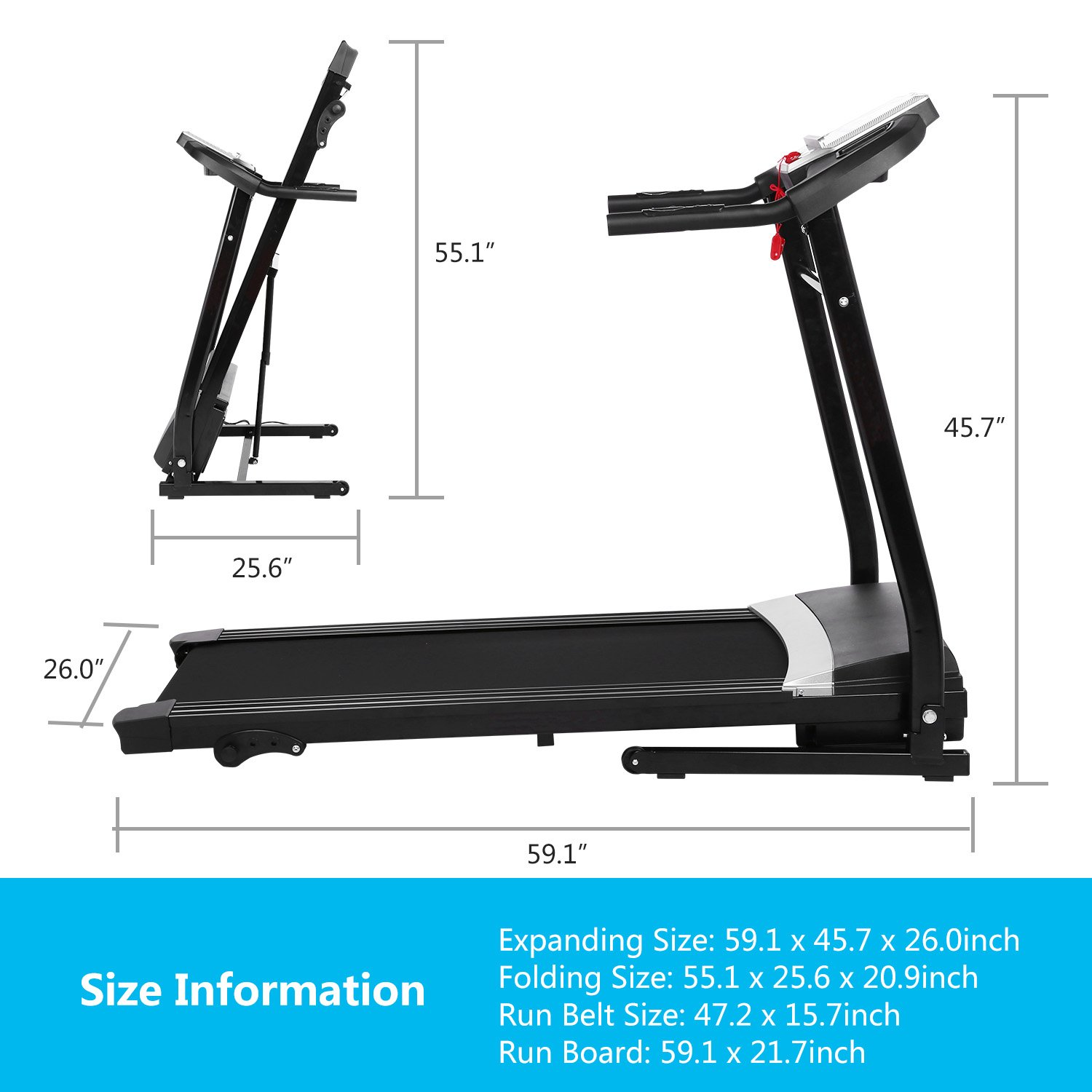 Miageek Fitness Folding Electric Jogging Treadmills with Smartphone APP Control, Walking Running Exercise Machine Incline Trainer Equipment Easy Assembly by Miageek (Image #3)