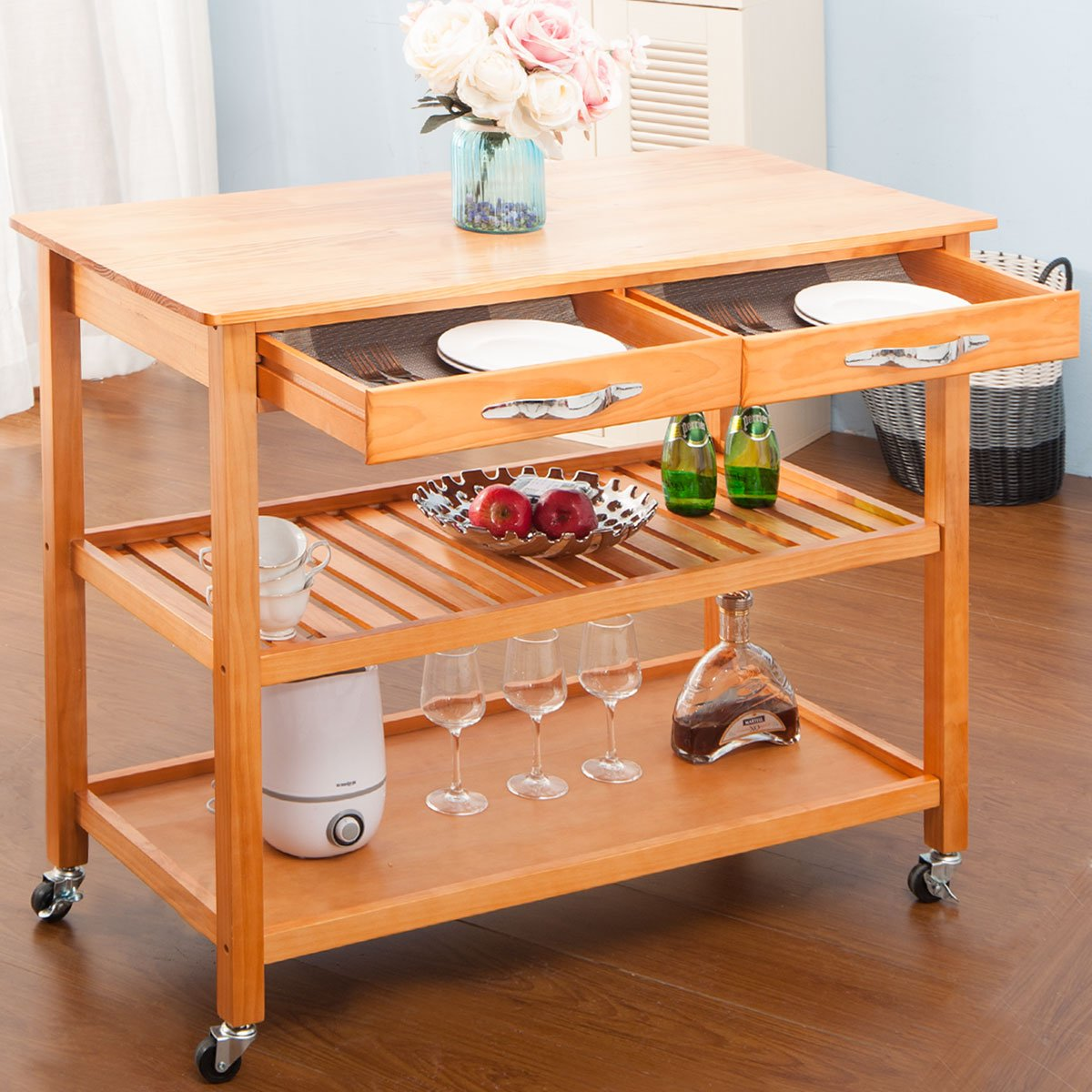 Harper&Bright Designs with Drawers & Shelves (Walnut) Kitchen Dining Trolley Cart by Harper&Bright Designs (Image #2)