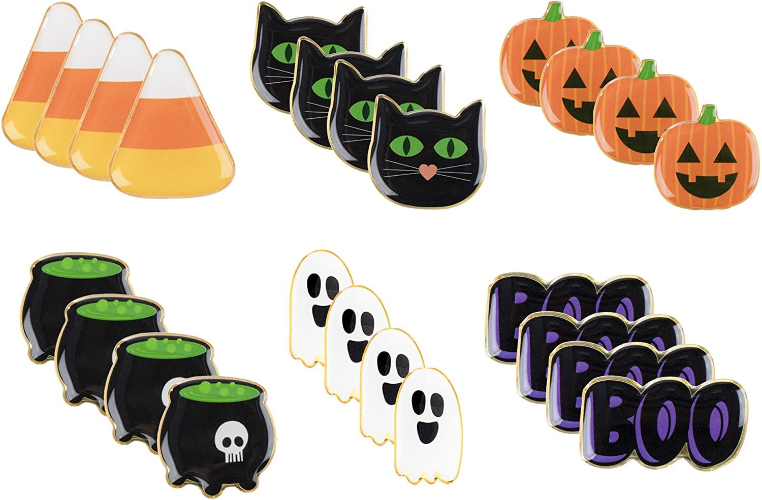 Halloween Pins - 24-Pack Enamel Pins, Lapel Pins for Halloween Costume Parties, Kids Party Favors, 6 Designs, 1.1 x 0.3 x 1.1 Inches: Clothing