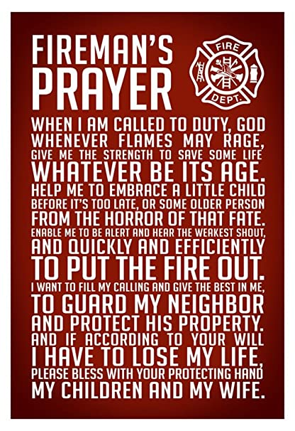 Amazon Com Laminated A Fireman S Prayer Art Print Poster 13 X 19in