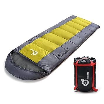 ODOLAND Tiempo cálido Saco de dormir impermeable con bolsillos y sección de pie ajustable - Confort