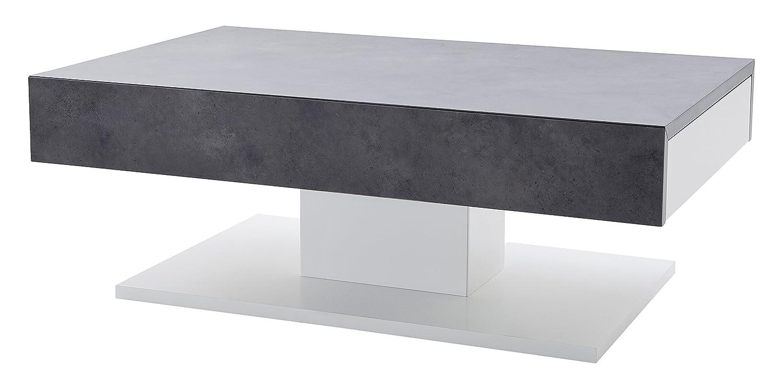 Robas Lund Couchtisch Wohnzimmertisch Lania Matt Weiß/ Beton Optik 110 x 70 x 40 cm 58202BW4