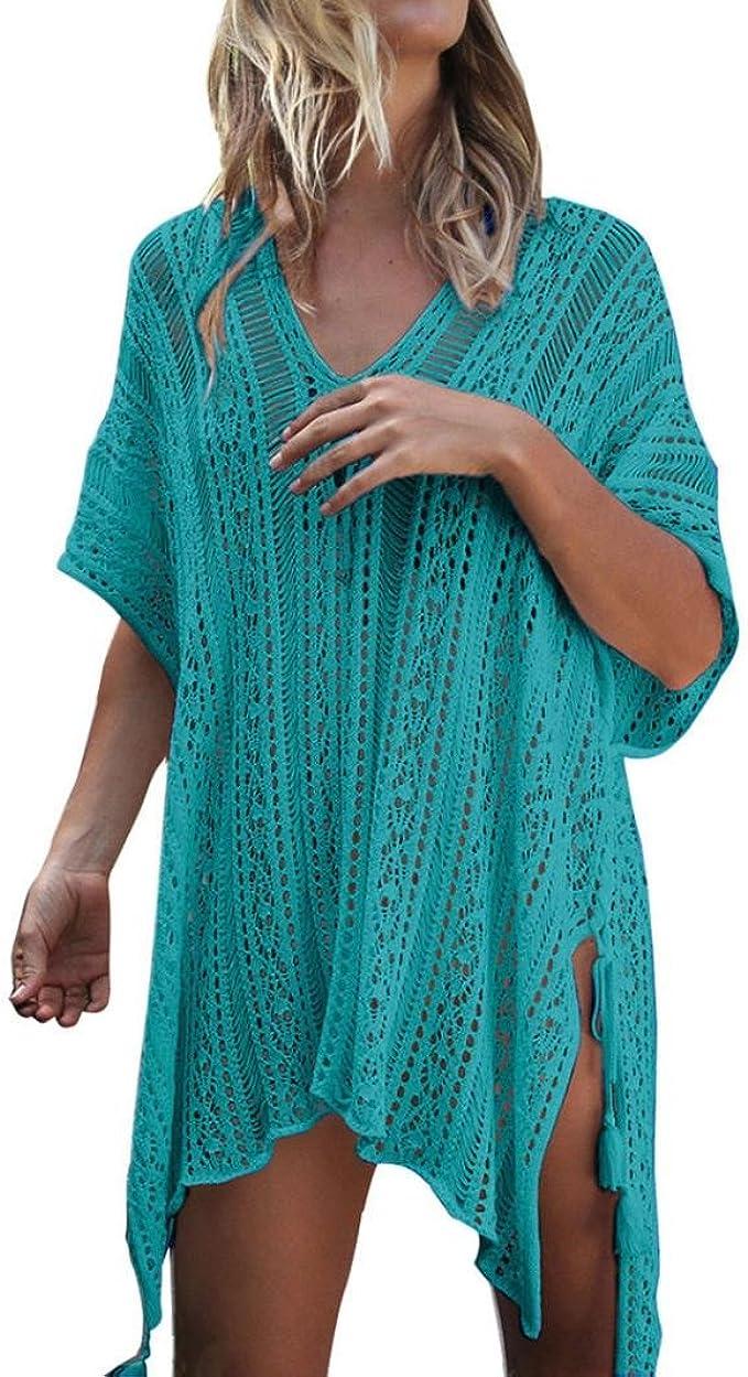 Neu Damen Kaftan Bikini Cover bis Casual Beach Sommer Mini Sommerkleid Bademode