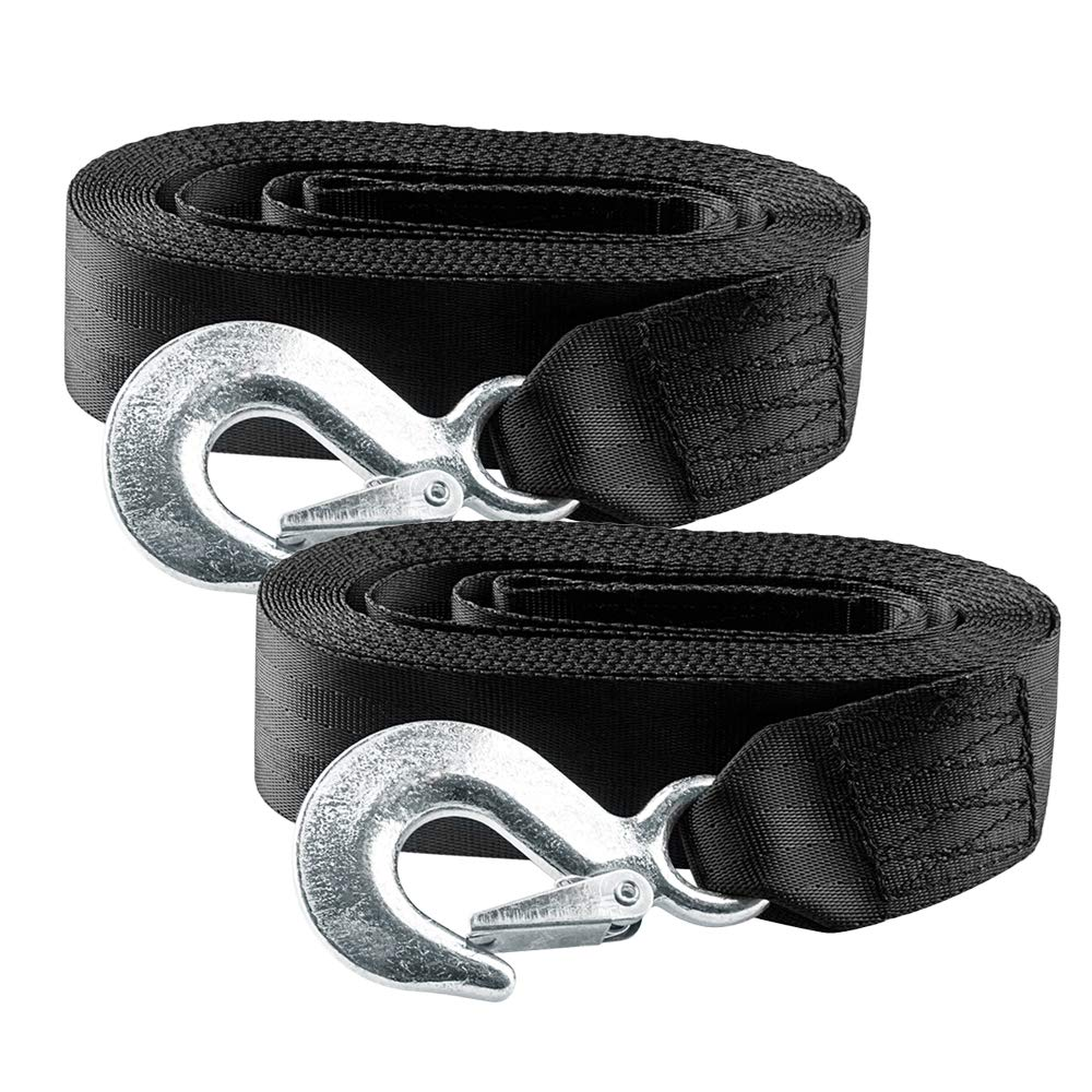 BANG4BUCK 2 Packs 2 Inch X 20 Feet Winch Straps Cable Tow Strap Lines with Durable Hooks for ATV Jet Ski Trailer Boat Cars - Breaking Strength 10000 lbs by B4B BANG 4 BUCK