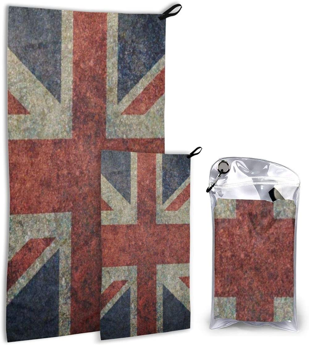SHNUFHBD Quick Dry Towel Grunge UK Flag Microfiber Towel,Fast Drying - Super Absorbent - Ultra Compact,Cooling Towel Suitable for Gym,Beach,Swimming