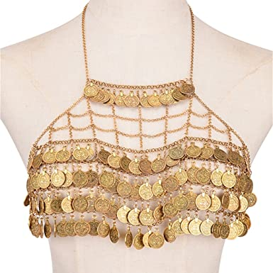 Bohemian Coin Tassel Body Chains Bra Top Chest Gold   Silver Plated Metal  Mesh Halter Bikini