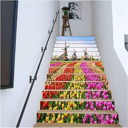 SERFGTFH Escaleras Pegatinas Mar Puente De Madera Sun 3D Pegatinas Escalera Muro Piso Salón Decoración Decoración Adhesivos: Amazon.es: Hogar