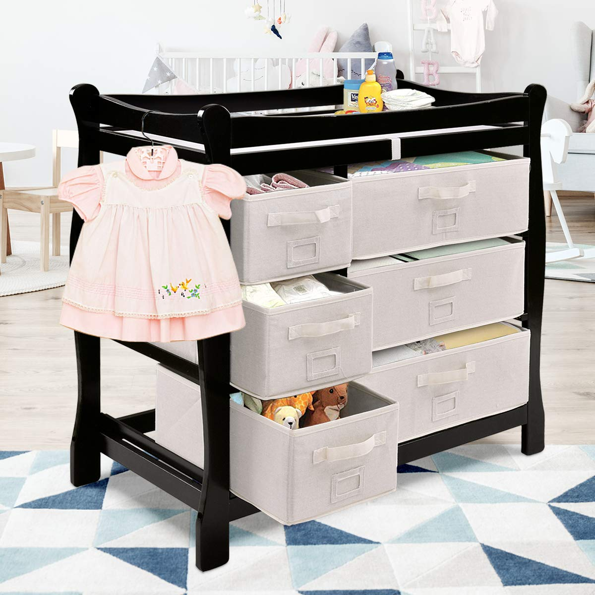 Sleigh Style Nursery Dresser Changing Table with Hamper// 6 Baskets Black Infant Diaper Changing Table Organization Costzon Baby Changing Table Newborn Nursery Station with Pad