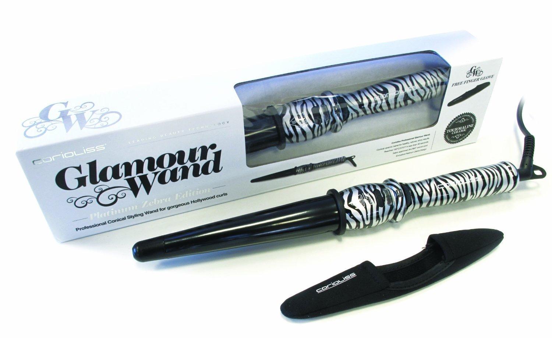 Corioliss Glamour Wand Platinum Zebra - Pinza rizadora (temperatura máxima de 190ºC), estampado de cebra