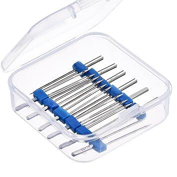 Caja de plástico con 12 agujas dobles para máquina de coser (tres tamaños diferentes: 2/90, 3/90 y 4/90): Amazon.es: Hogar