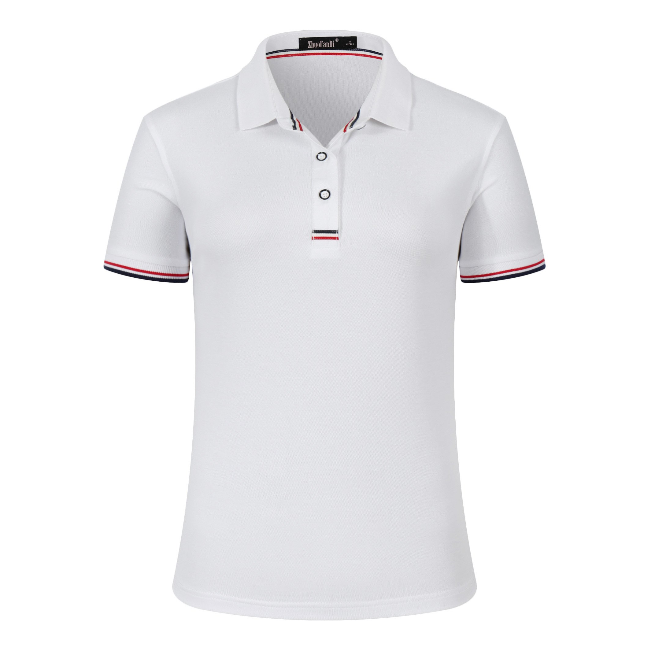 Mitario Femiego Women Classic Rainbow Collar Slim Fit Short Golf Polo Shirt White S