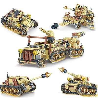 Actcute 678pcs 4in1 Army WW2 Tow Truck Soldier Building Blocks para niños Vehículo Militar Figura Tanque Arma Pistola Ladrillos para niño Regalo de cumpleaños: Juguetes y juegos