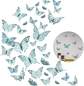 36Pcs 3D Butterfly Wall Decor Sticker, LASZOLA DIY Metallic Butterfly Decorations 3 Style Removable Mural Art Decal for Home Kids Girls Bedroom Nursery Party Décor (Azure Blue)