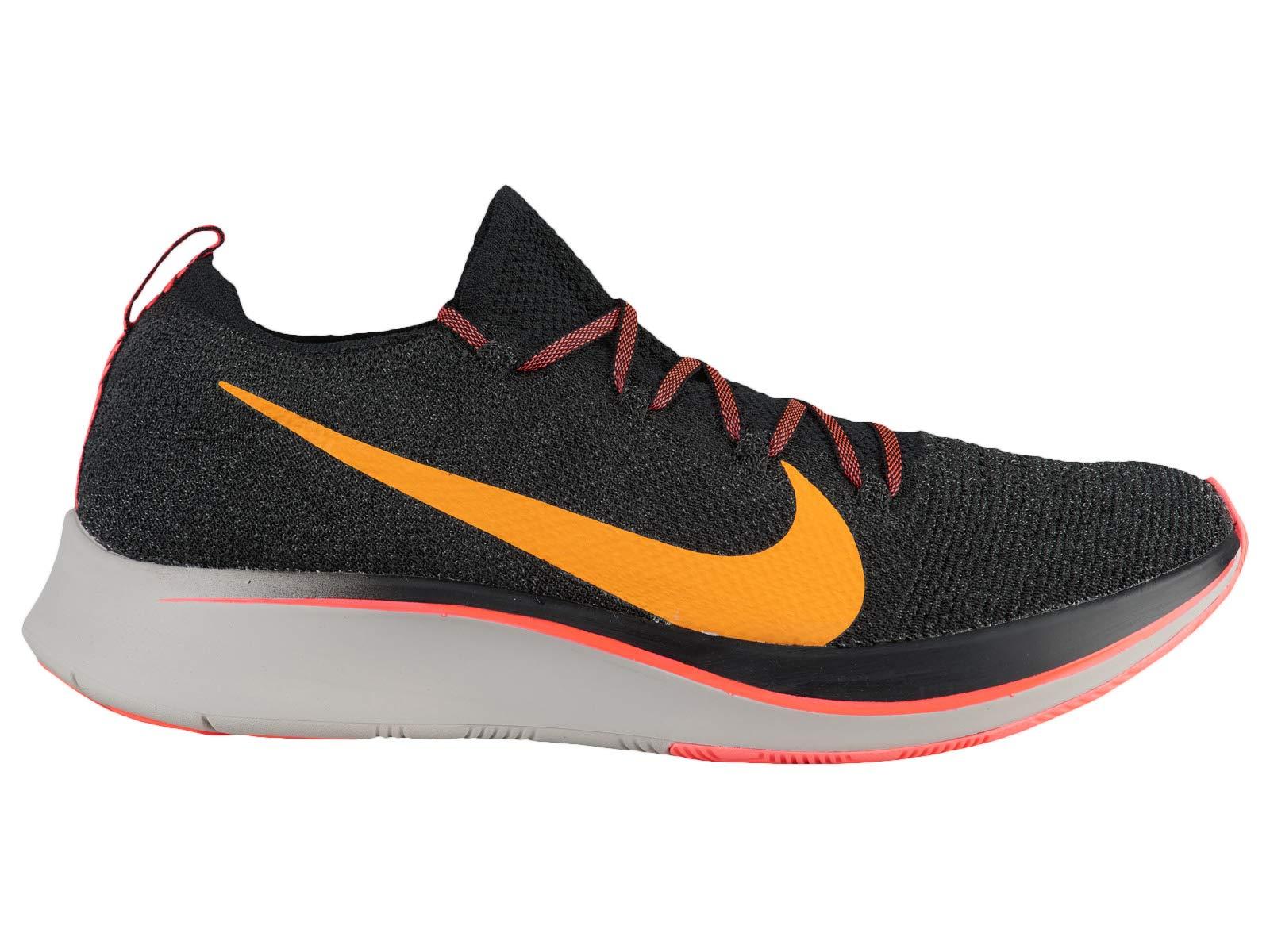 Nike Men's Zoom Fly Flyknit Black/Flash Crimson/Orange Peel Nylon Running Shoes 6.5 M US