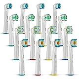 FINNDENTA 16er Oral B Ersatzbürsten für ihre elektrische Zahnbürste, Precision Clean EB20, 3D White EB18, Floss Action EB25, Cross Action EB50 Zahnbürstenköpfe, Kompatibel mit Braun Oral b Zahnbürsten, für weißere Zähne, Aufsteckbürsten Multy Pack, Zahnbürsten set