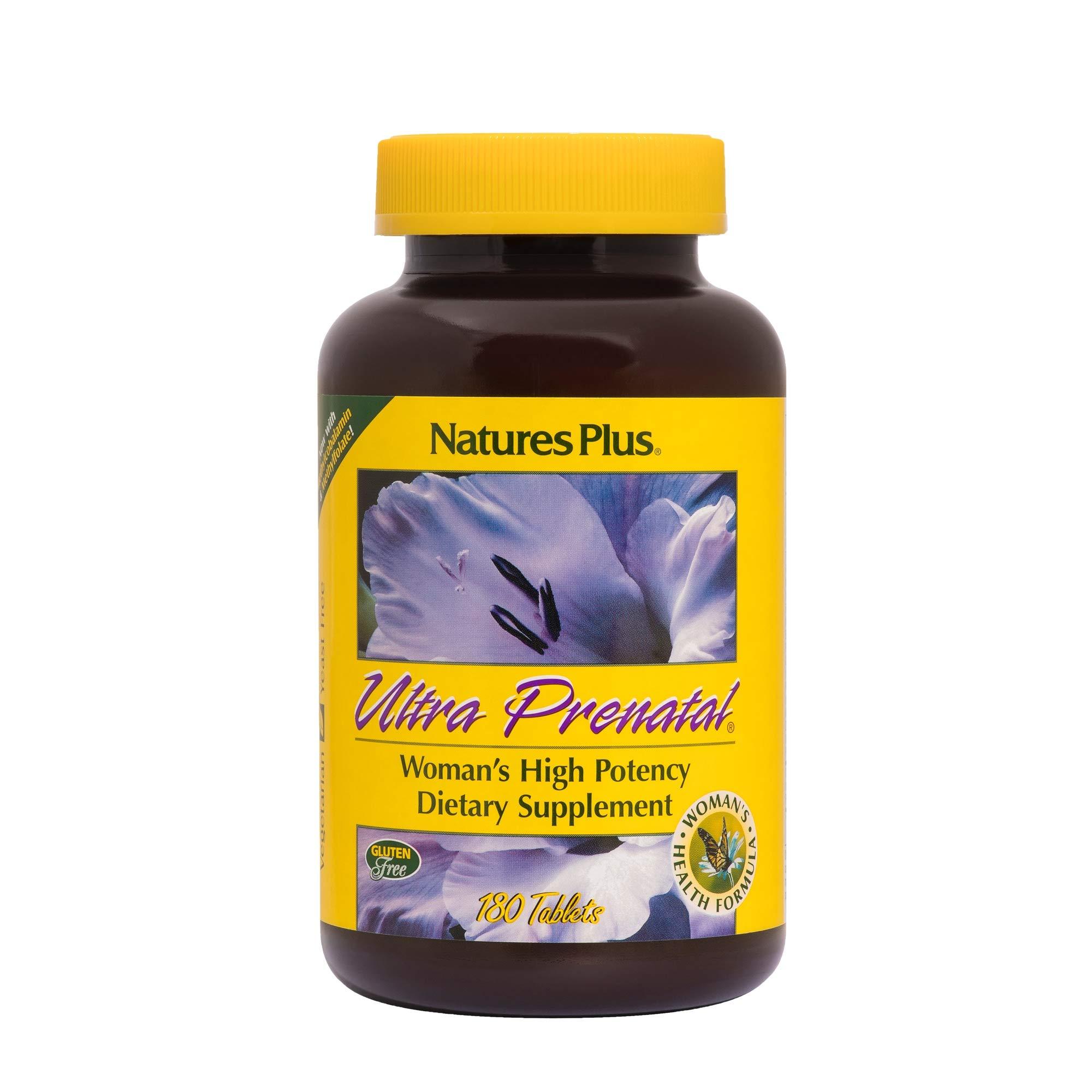 NaturesPlus Ultra Prenatal Multivitamin - 800 mcg Folate, 180 Vegetarian Tablets - Prenatal Supplement with Iron, Iodine, Calcium & B-Complex Vitamins - Gluten-Free - 90 Servings