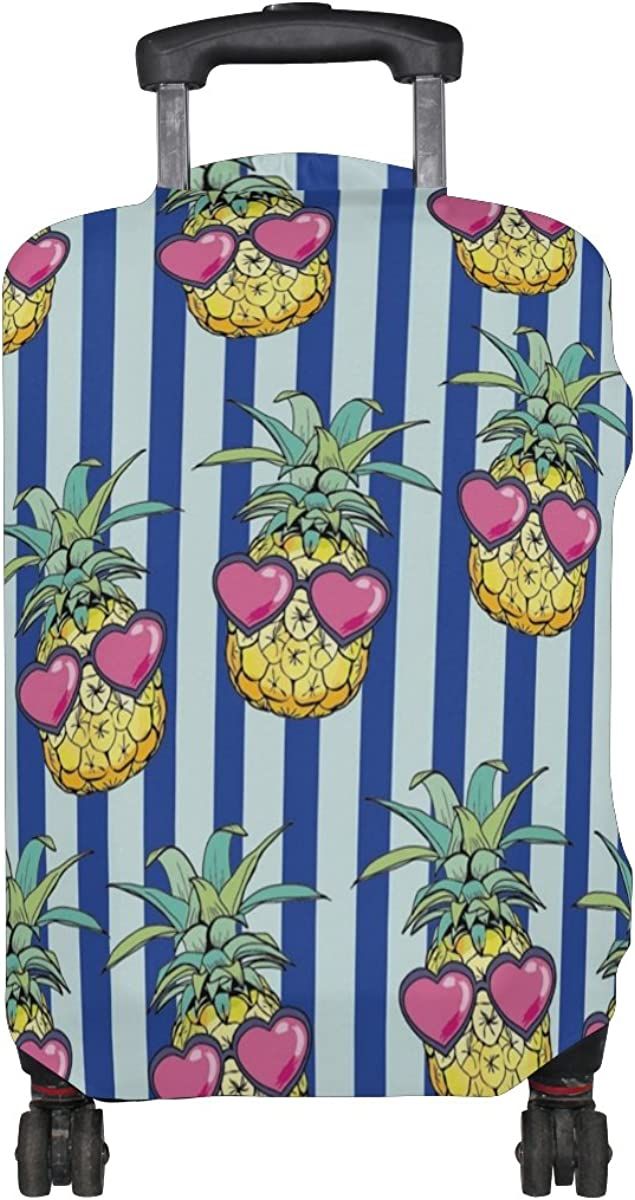 ALAZA Blue Stripe Tropical Pineapple Luggage Suitcase Cover Case Protector