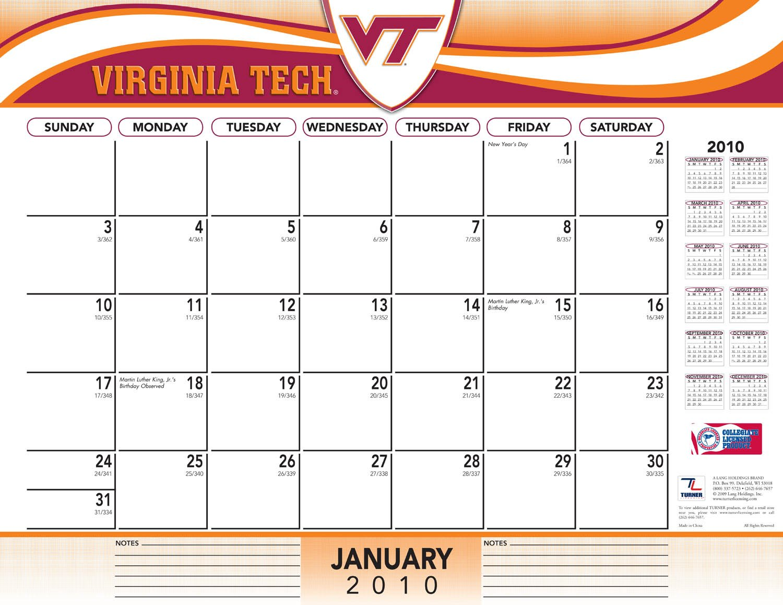 Virginia Tech Calendar.2011 Virginia Tech Hokies Blotter Calendar Perfect Timing