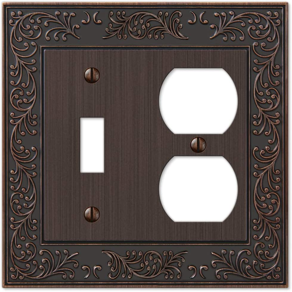 Amerelle English Garden Single Toggle/Single Duplex Cast Metal Wallplate in Aged Bronze
