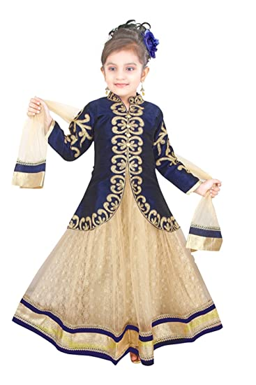 18ab33d9a ETHNICAL KIDS Girls  Indian Ethnic Wear Dupion And Netted Fabric ...