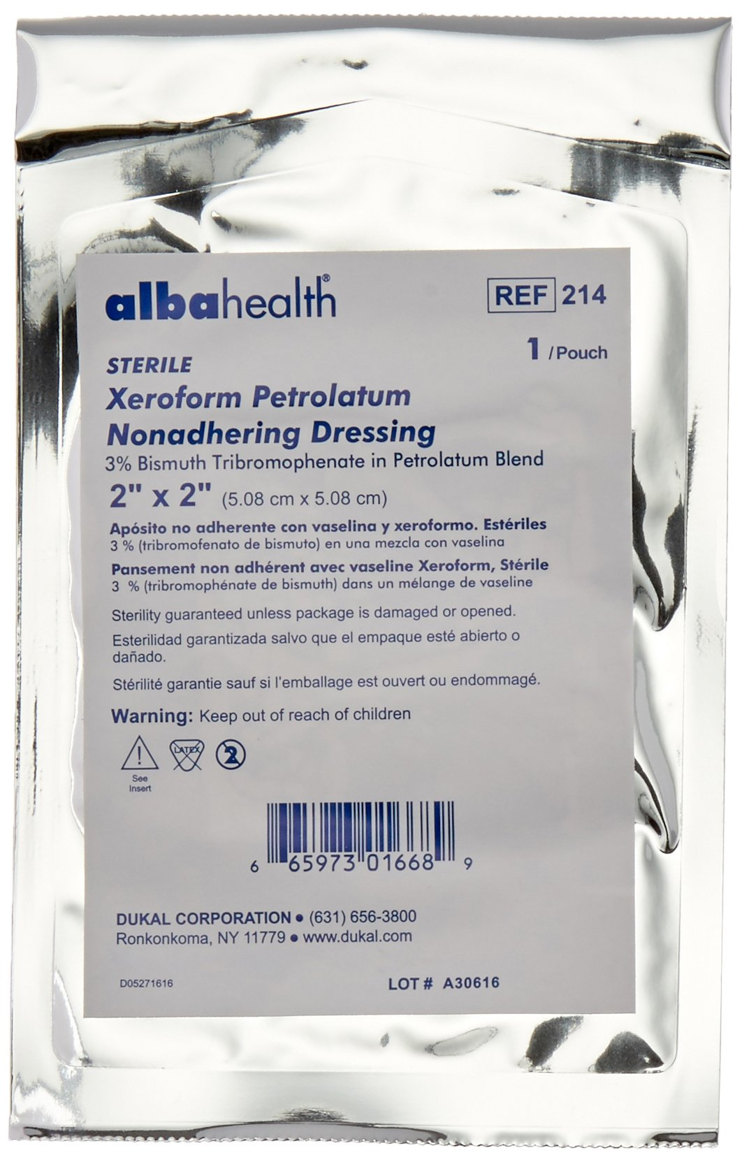 Dukal 214 Alba Xeroform Petrolatum Gauze, Sterile, 2'' W x 2'' L (Pack of 25)